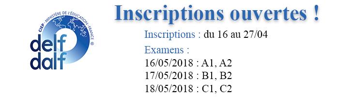 Inscriptions DELF ouvertes mai 2018